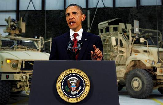U.S. President Barack Obama delivers an address on U.S. policy and the war in Afghanistan during his visit to Bagram Air Base in Kabul, May 2, 2012.
