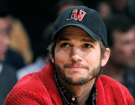 Actor Ashton Kutcher sits courtside during Game 2 of the Los Angeles Lakers against Denver Nuggets NBA Western Conference quarter-final basketball playoff game in Los Angeles, California May 1, 2012. REUTERS/Alex Gallardo (UNITED STATES - Tags: SPORT BASKETBALL ENTERTAINMENT)