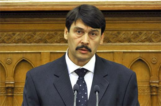 Janos Ader delivers his speech after he took his oath as President of the Republic Hungary. Photo: AP