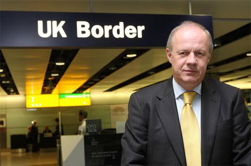 UK Immigration Minister Damian Green during a visit to Terminal 3 of Heathrow Airport. Photo: PA