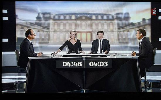 The televised debate between France's Socialist Party candidate Francois Hollande (L) and incumbent president Nicolas Sarkozy
