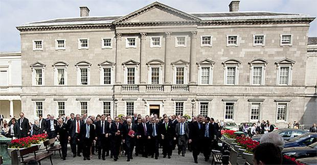 The Fine Gael parliamentary party outside Leinster House