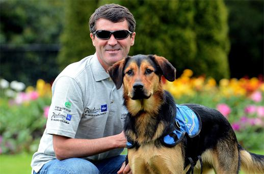 Roy Keane with Hector the dog at launch of the Irish Guide Dogs for the Blind 'Shades' campaign.