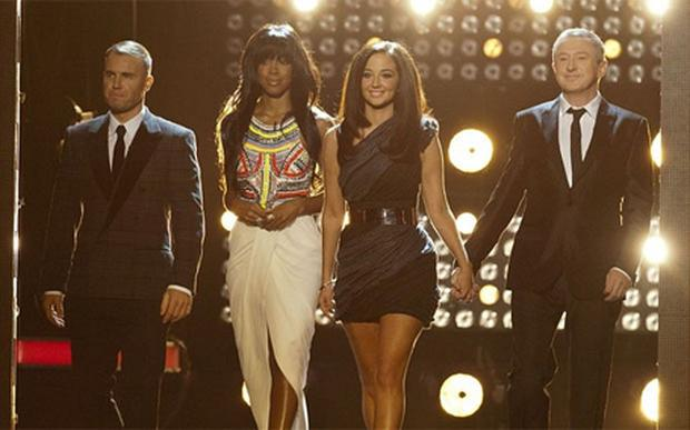 The X Factor judges: Gary Barlow, Tulisa Contostavlos, Kelly Rowland, and Louis Walsh