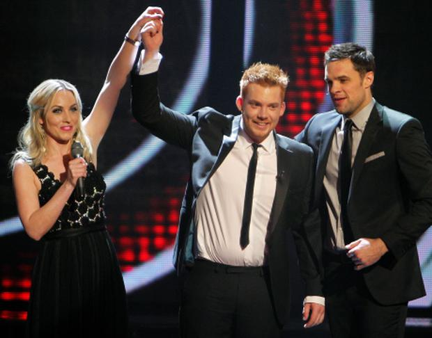 Pat Byrne Celebrates winning the the Voice of Ireland Final in The HelixKOBPIX NO FEE