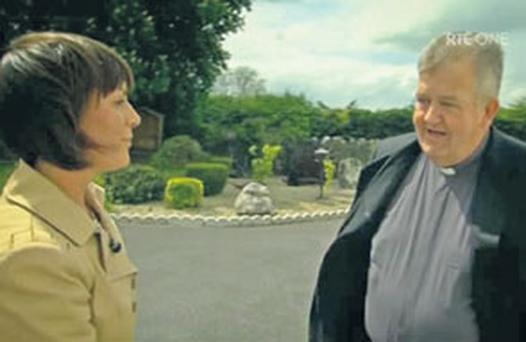 A scene from the RTE 'Prime Time Investigates' programme, in which reporter Aoife Kavanagh confronts Fr Kevin Reynolds