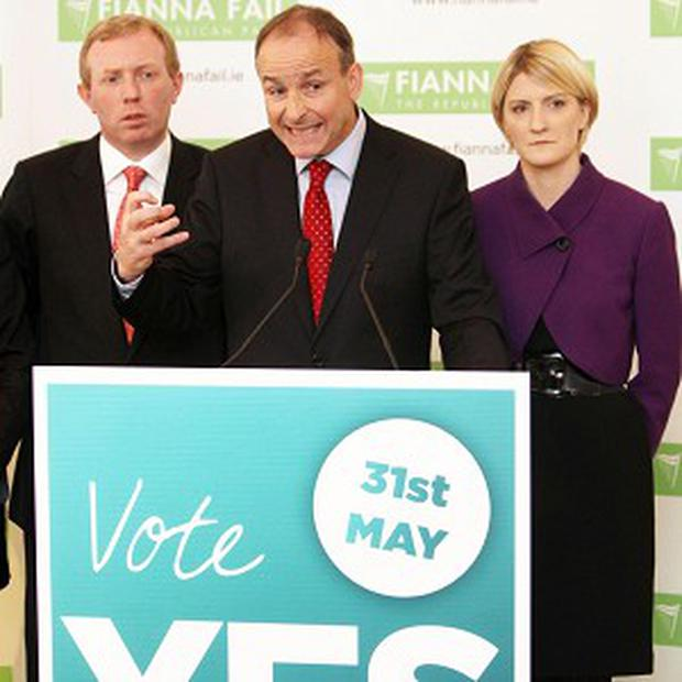 Fianna Fail's Timmy Dooley, leader Micheal Martin and Senator Averil Power launch the party's Yes campaign for the Stability Treaty Referendum
