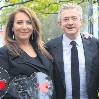 Caroline Downey-Desmond and Louis Walsh at the Variety awards gala in Dublin yesterday