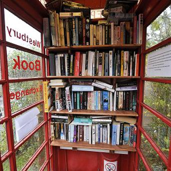 A phone box in Bucklebury has been transformed into a book exchange