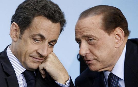 Nicolas Sarkozy joins Silvio Berlusconi on the European political sidelines. Photo: AP