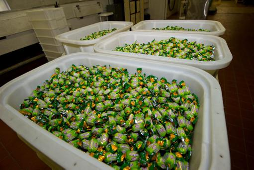 End of an Era- the final production run of the Oatfield's Emerald Sweet. After over 80 years of sweet manufacturing and just a few weeks before the factory closes the last production run of Emerald Sweets make there way down the production line. Pic: Clive Wasson