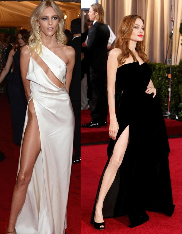 From left: Anja Rubik and Angelina Jolie