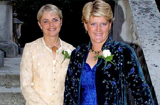 Alice Arnold, left, with Clare Balding