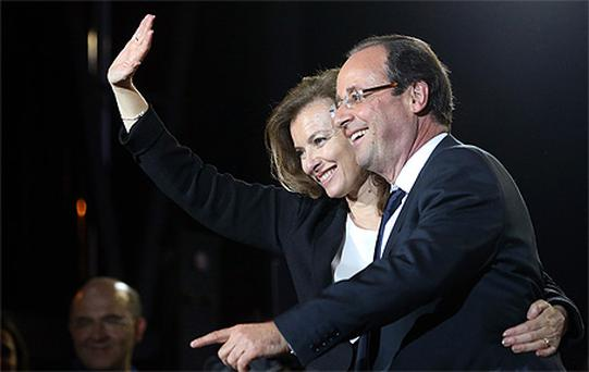 Francois Hollande with partner Valerie Trierweiler