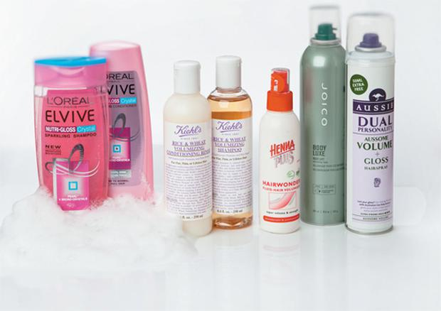 Pictured, from left: L'Oreal Elvive Nutri-Gloss Crystal Shampoo and Conditioner; Kiehl's Rice and Wheat Volumising Shampoo and Conditioner; HennaPlus Hairwonder Fluid-Hair Volumizer; Joico Body Luxe Root Lift Volumising Foam; Aussie Dual Personality Aussome Volume + Gloss Hairspray