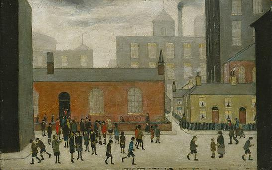 Coming Out of School (1927) painting by L S Lowry