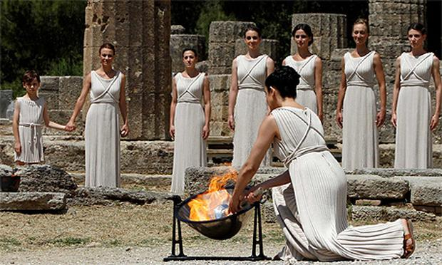 The torch lighting ceremony which took place in Greece