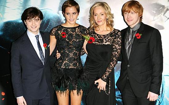 JK Rowling with Harry Potter actors Daniel Radcliffe, Emma Watson and Rupert Grint