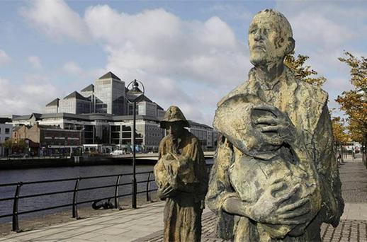 The Famine Memorial on the north quay in Dublin. Niall Carson/PA
