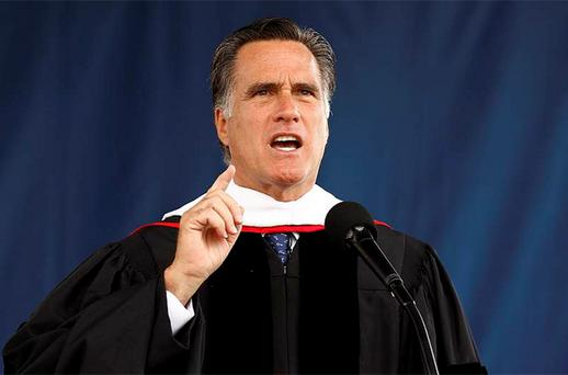 Mitt Romney, US Republican presidential candidate and former Massachusetts governor, speaks at the Liberty University commencement ceremony in Lynchburg, Virginia. Photo: Reuters