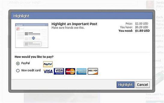 Facebook is trialling a system of charging users to promote their posts to their friends