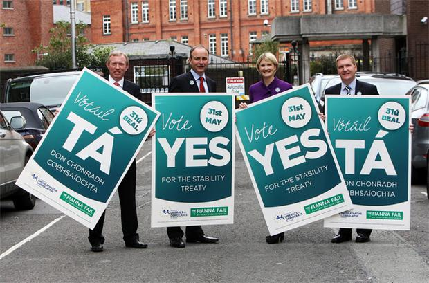 Fianna Fail leader Micheal Martin at the launch of the Fianna Fail campaign for a YES vote in the EU fiscal treaty referendum. Photo: Tom Burke