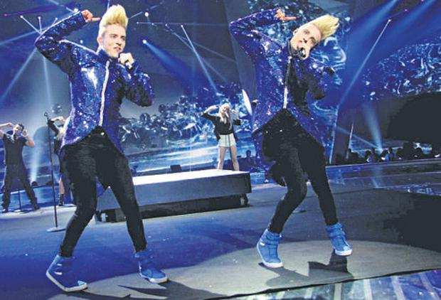 Jedward have their first rehearsal onstage in Baku, Azerbaijan, ahead of their Eurovision semi final on May 22