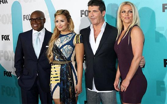 X Factor judges LA Reid, Demi Lovato, Simon Cowell and Britney Spears