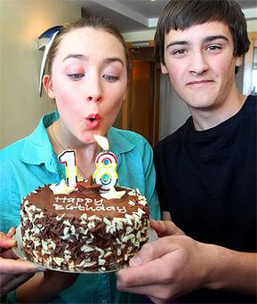 Saoirse Ronan who is Patron of the Coca Cola Cinemagic International Film and Television Festival for Young People pictured at the Burlington Hotel where Owen Peurois from Wicklow Town helped Saoirse celebrate her 18th Birthday which was last week. Photo: Steve Humphreys