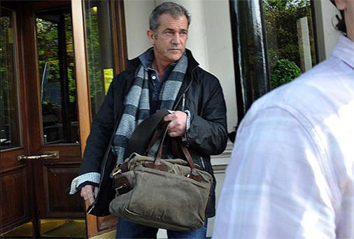Mel Gibson leaving The Shelbourne Hotel in Dublin yesterday