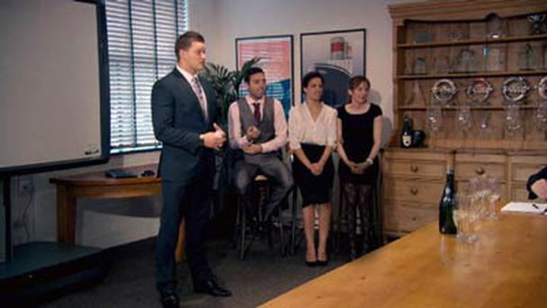 Ricky and his team pitching to industry experts in tonight's episode of The Apprentice.