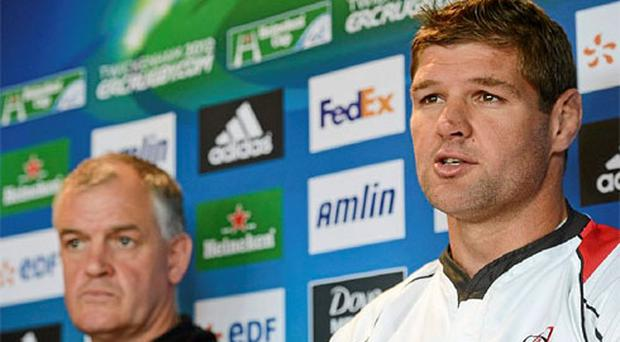 Ulster's Johann Muller, right, alongside head coach Brian McLaughlin during a press conference ahead of their Heineken Cup final against Leinster on Saturday. Photo: Sportsfile