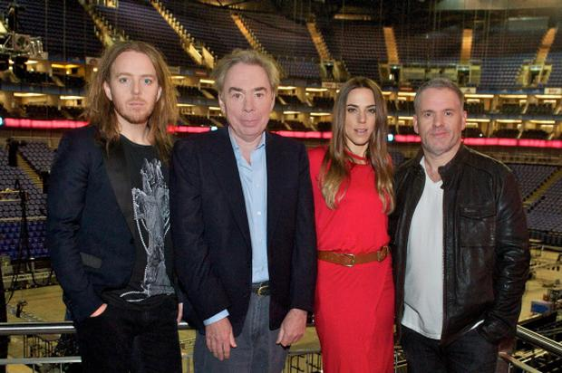 Undated handout photo issued by Jab Promotions of Andrew Lloyd Webber (second left), with cast members of the UK arena tour of Jesus Christ Superstar, Tim Minchin (Judas Iscariot) left, Melanie C (Mary Magdalene) and Chris Moyles (King Herod) right, which opens at London's O2 Arena on 21 September. PRESS ASSOCIATION Photo. Issue date: Wednesday May 16, 2012. Radio 1's Chris Moyles is going from saviour to villain - by playing King Herod in stage musical Jesus Christ Superstar.The unlikely casting will see the breakfast show motormouth making his major debut in the Andrew Lloyd Webber production which will tour arenas later this year. Also in the cast will be former Spice Girl Mel C and Olivier Award-winning comic and musician Tim Minchin. See PA story SHOWBIZ Superstars. Photo credit should read: Jab Promotions/PA Wire
