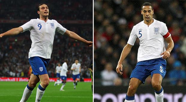 Andy Carroll and Rio Ferdinand. Photo: Getty Images