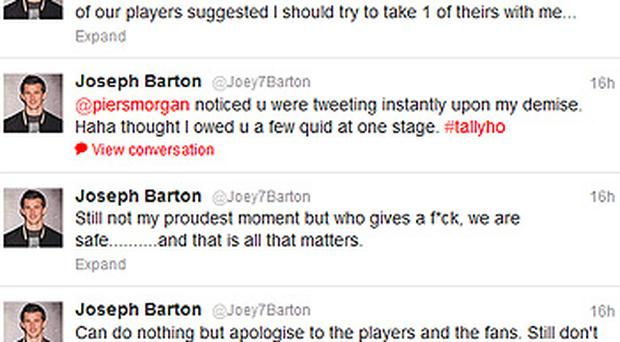 Joey Barton took to Twitter to apologise for his sending off
