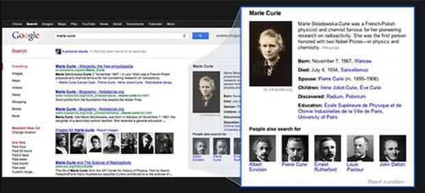 Google's new search will provide a dedicated panel of results for prominent individuals such as Marie Curie