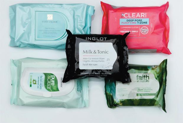 Pictured, clockwise from top left: Estee Lauder Take It Away LongWear Makeup Remover Towelettes; Soap & Glory Clear Here Cleansing Cloths; Faith In Nature 3-in-1 Facial Wipes; Nelsons Pure & Clear Purifying Daily Facial Wipes; Inglot Milk & Tonic Make-Up Remover Wipes.