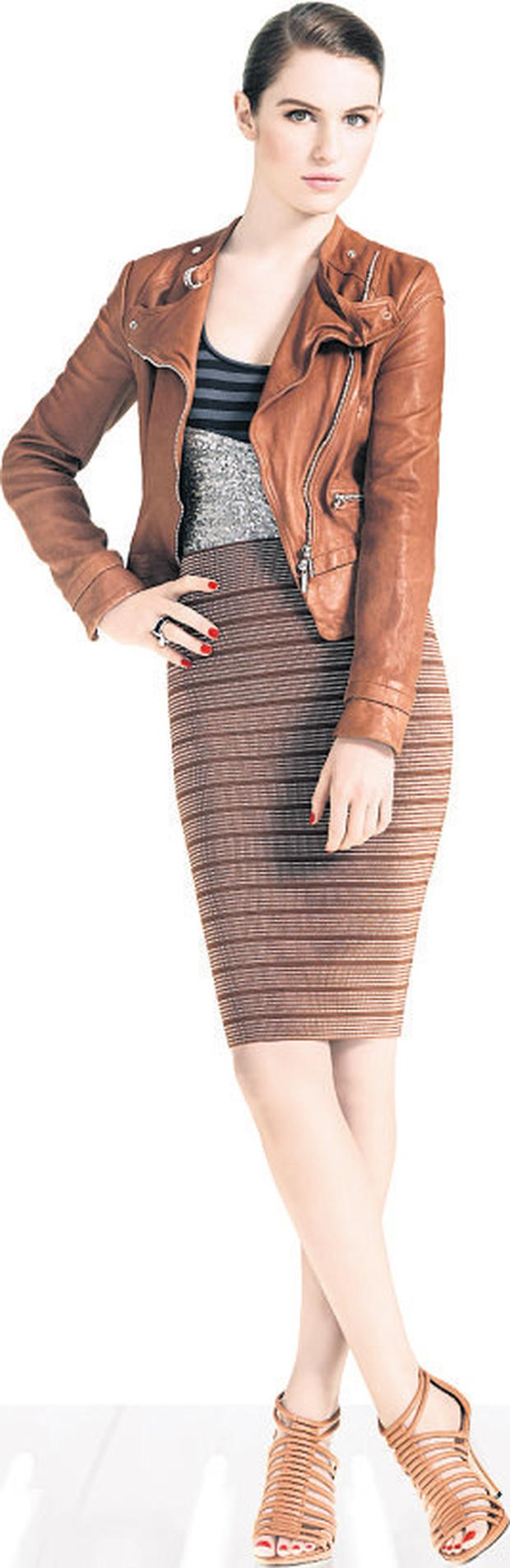 Leather jacket, €399, sequin and stripped top, €99, skirt, €199 all from www.karenmillen.com