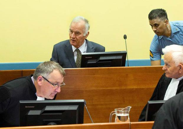 <b>Thursday</b><br/> Former Bosnian Serb army commander Ratko Mladic attends his trial at the International Criminal Tribunal at The Hague.