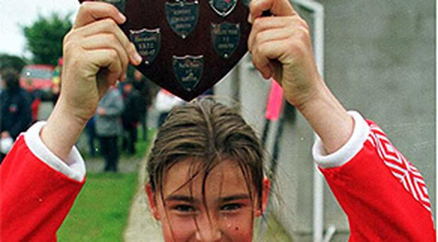 Katie Taylor the only girl playing in the finals of the Wicklow Schoolboys Shield who scored the winning goal for Newtown when they beat Greystones 3- 2 in the under 12 premier division game at Kilcoole in June 1999