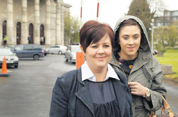 Jenny Forsey left with her daughter Amy outside Waterford Circuit Criminal Court