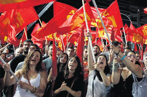 Supporters of the Greek Communist Party in Athens last week as June 17 was set for a new election