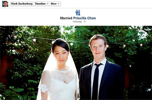 Facebook co-founder and CEO Mark Zuckerberg and Priscilla Chan are seen in this screengrab of a wedding photo posted on Zuckerberg's Facebook page. Photo: Reuters