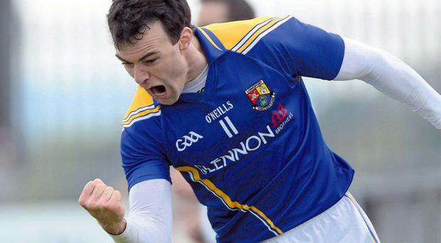 Longford's Paul Barden celebrates after scoring the only goal of the game during yesterday's Leinster SFC clash with Laois at Pearse Park