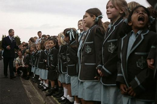 Prince Charles pays a visit to the Geelong Grammar School. Photo: PA