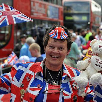 Anita Atkinson, pictured outside Westminster Abbey at last year's royal wedding, owns the Royalty Teas shop in County Durham