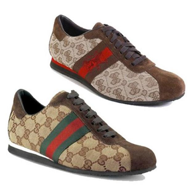 Gucci vs. Guess sneakers. Photo: Gucci/Guess