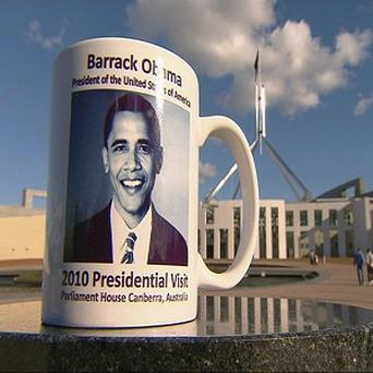 A commemorative mug of the planned 2010 presidential visit by Barack Obama to Australia (AP/Network 10)