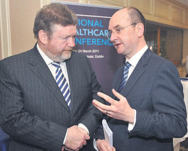 Frank Dolphin (right) and Health Minister James Reilly. Photo: Damien Eagers