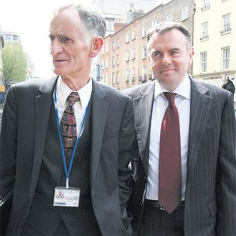 RTE board chairman Tom Savage and director general Noel Curran at Leinster House yesterday. Photo: Tom Burke